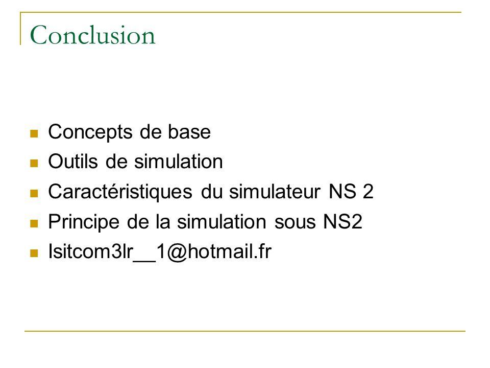 Conclusion Concepts de base Outils de simulation