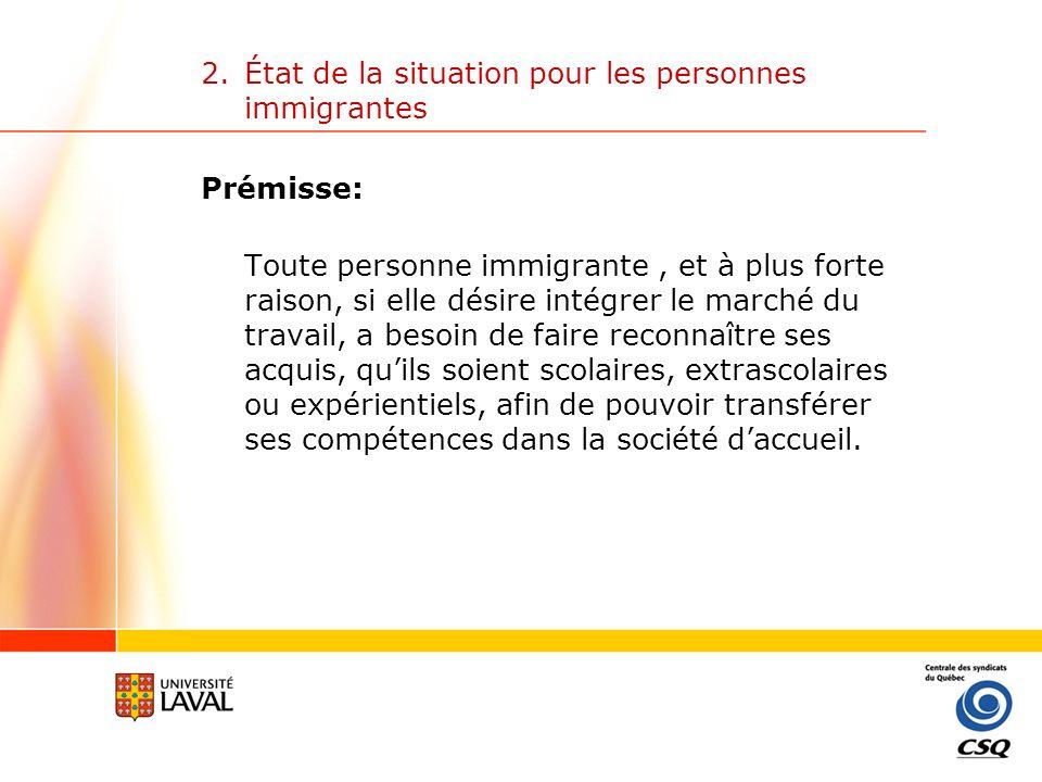2. État de la situation pour les personnes immigrantes