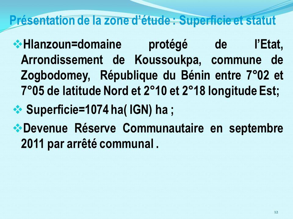 Présentation de la zone d'étude : Superficie et statut