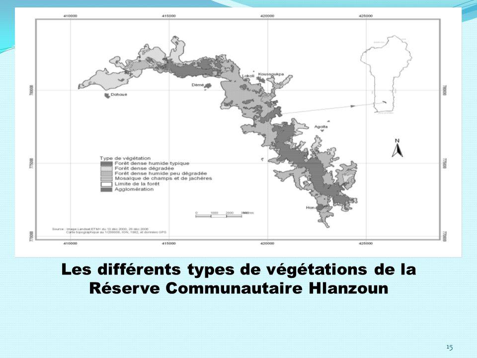 Les différents types de végétations de la Réserve Communautaire Hlanzoun