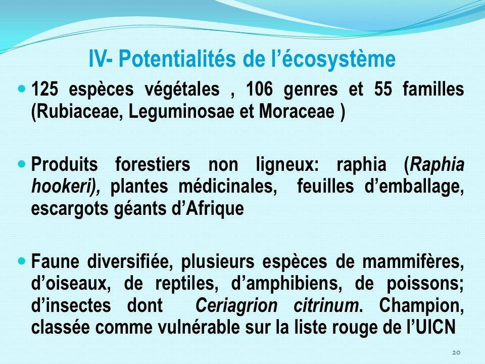 IV- Potentialités de l'écosystème