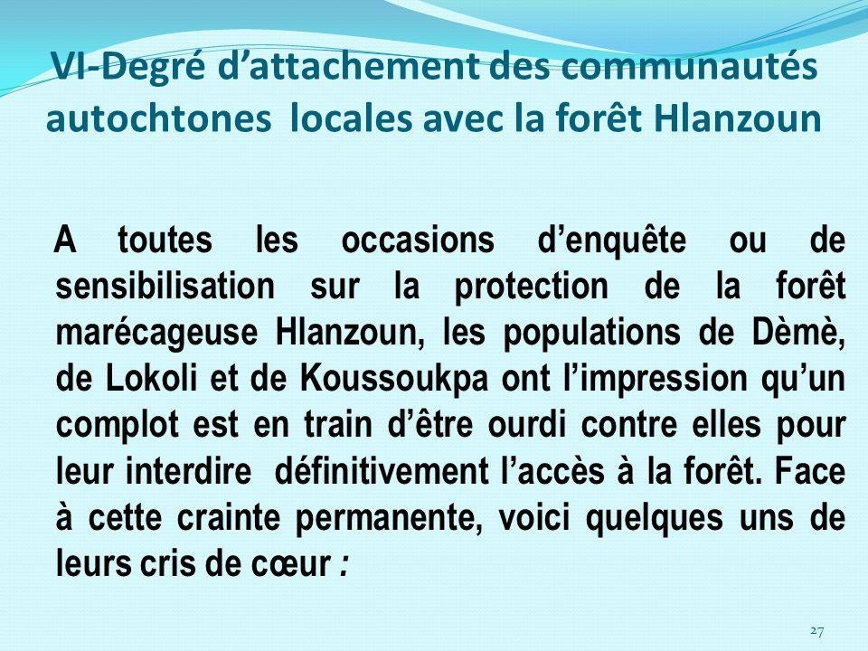 VI-Degré d'attachement des communautés autochtones locales avec la forêt Hlanzoun