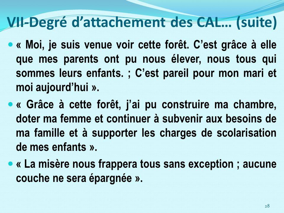 VII-Degré d'attachement des CAL… (suite)