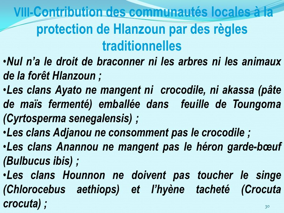 VIII-Contribution des communautés locales à la protection de Hlanzoun par des règles traditionnelles