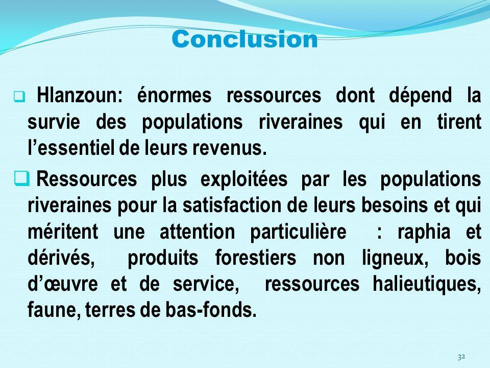 Conclusion Hlanzoun: énormes ressources dont dépend la survie des populations riveraines qui en tirent l'essentiel de leurs revenus.