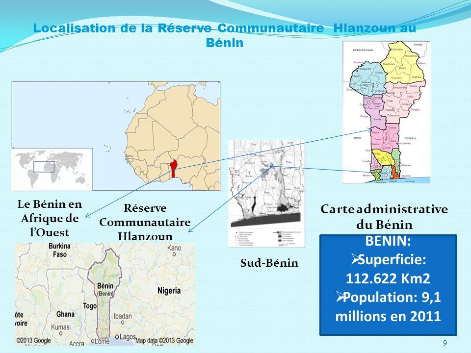 BENIN: Superficie: 112.622 Km2 Population: 9,1 millions en 2011