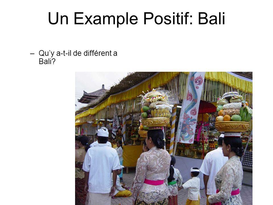 Un Example Positif: Bali