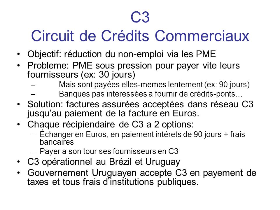 C3 Circuit de Crédits Commerciaux