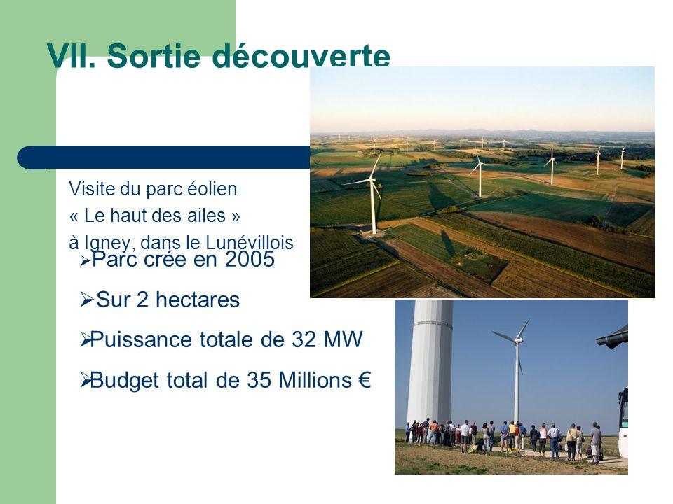 VII. Sortie découverte Sur 2 hectares Puissance totale de 32 MW
