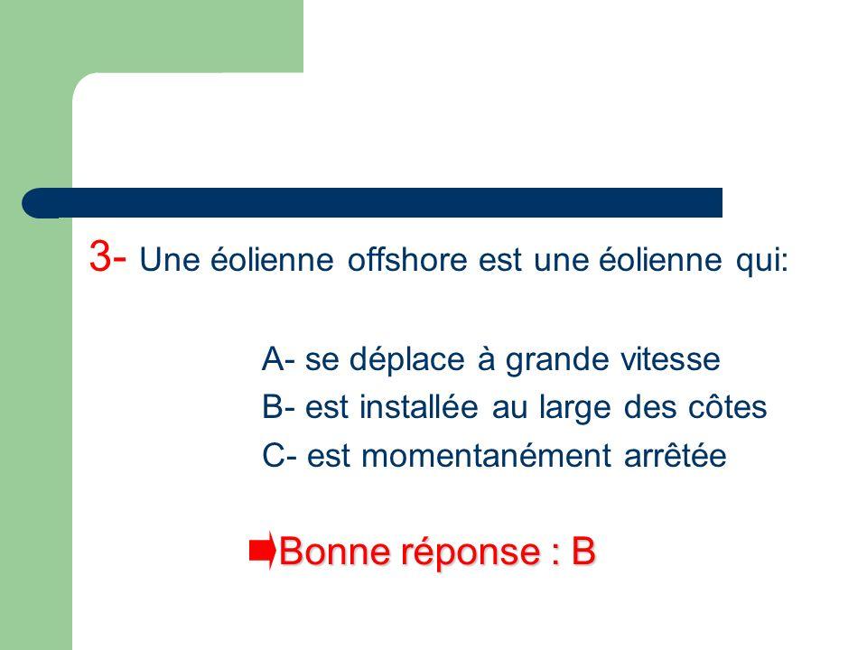 3- Une éolienne offshore est une éolienne qui: