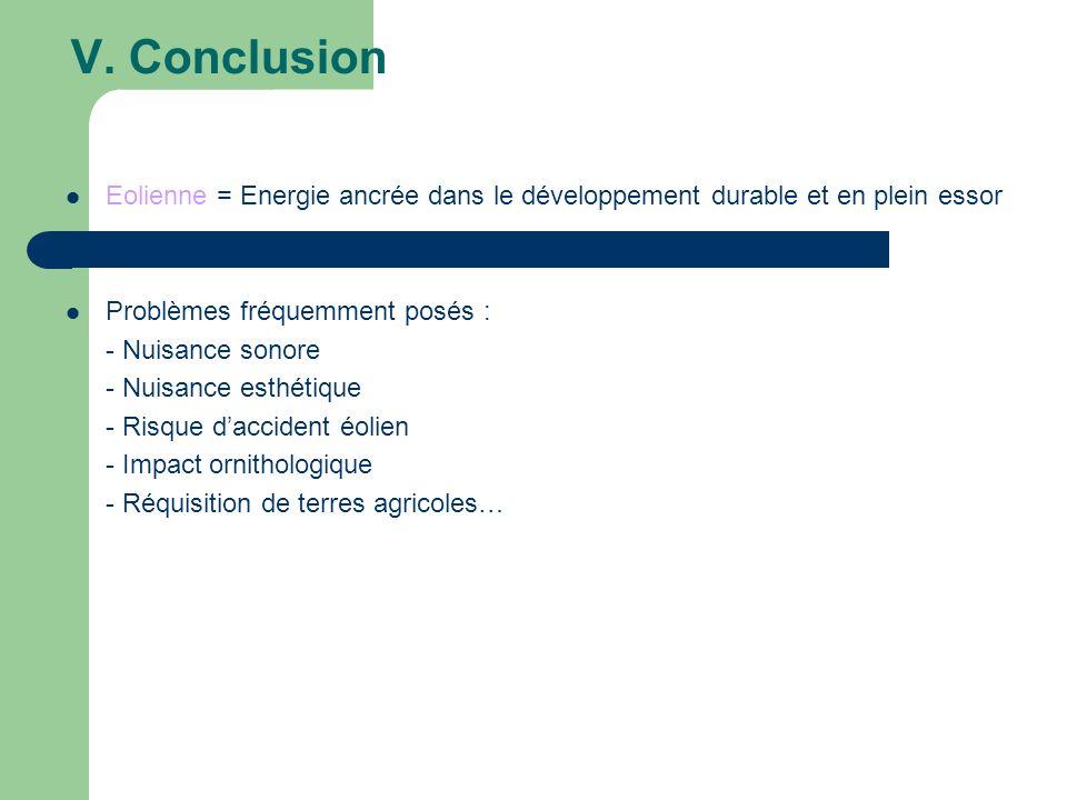 V. Conclusion Eolienne = Energie ancrée dans le développement durable et en plein essor. Problèmes fréquemment posés :
