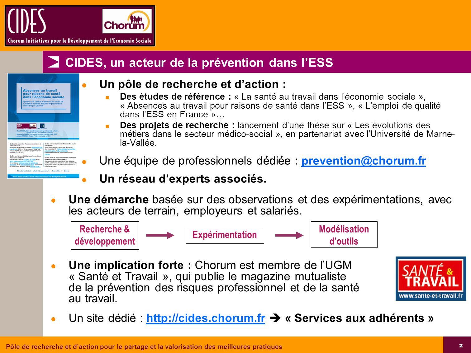 CIDES, un acteur de la prévention dans l'ESS