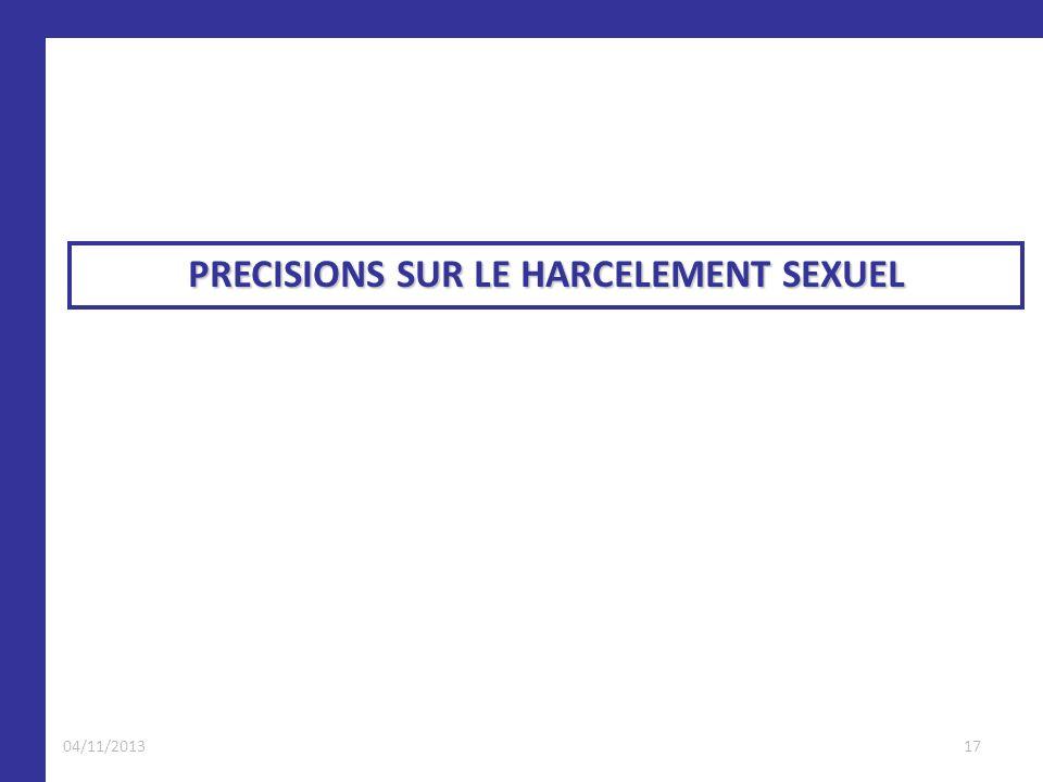 PRECISIONS SUR LE HARCELEMENT SEXUEL