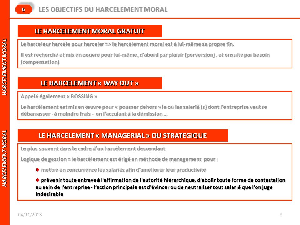 LES OBJECTIFS DU HARCELEMENT MORAL