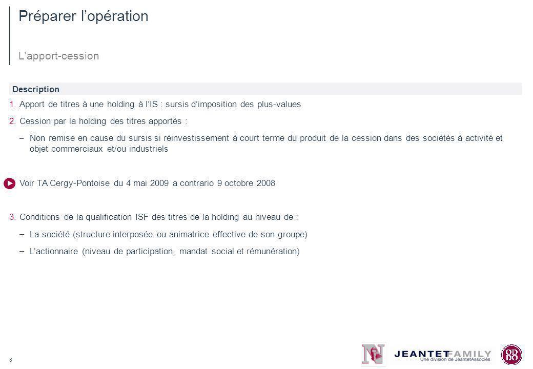 Préparer l'opération L'apport-cession Description