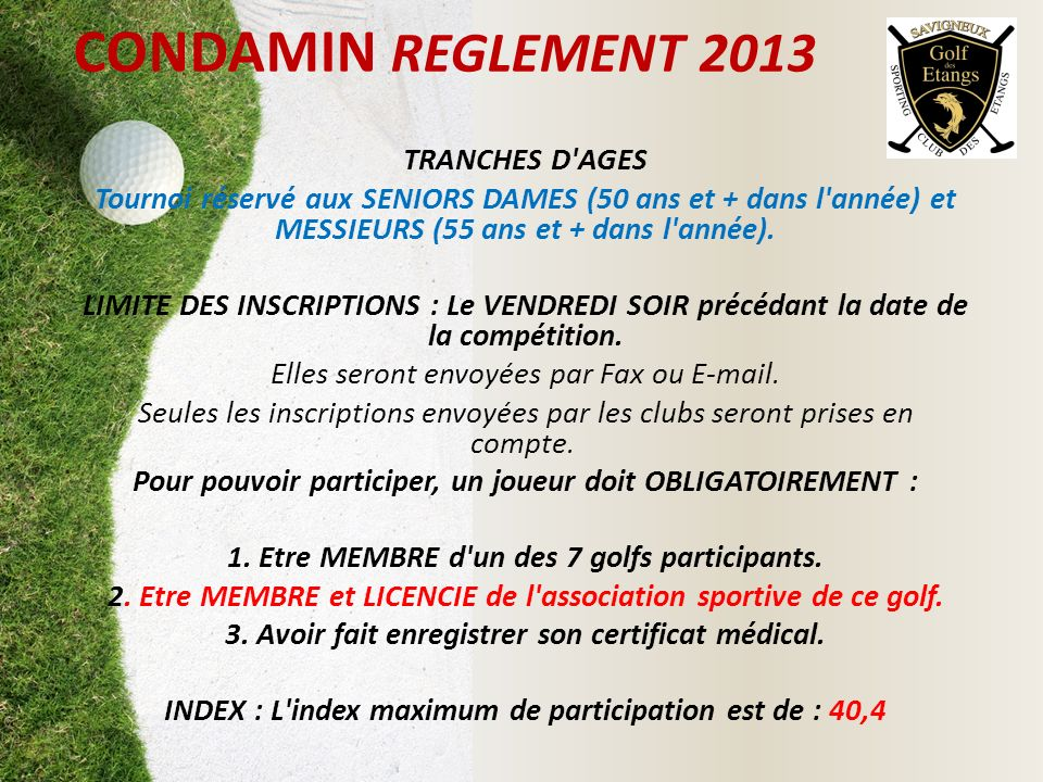 CONDAMIN REGLEMENT 2013 TRANCHES D AGES