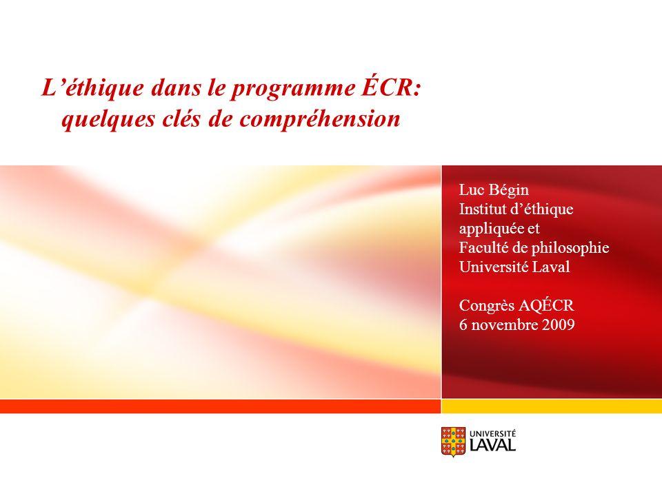 L'éthique dans le programme ÉCR: quelques clés de compréhension