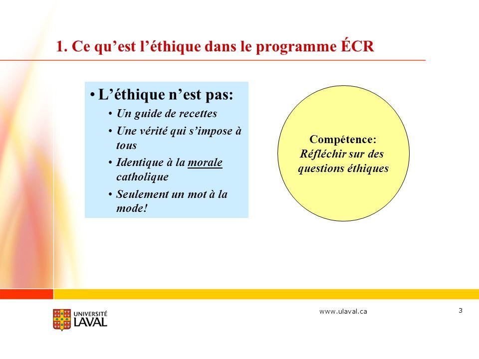 1. Ce qu'est l'éthique dans le programme ÉCR