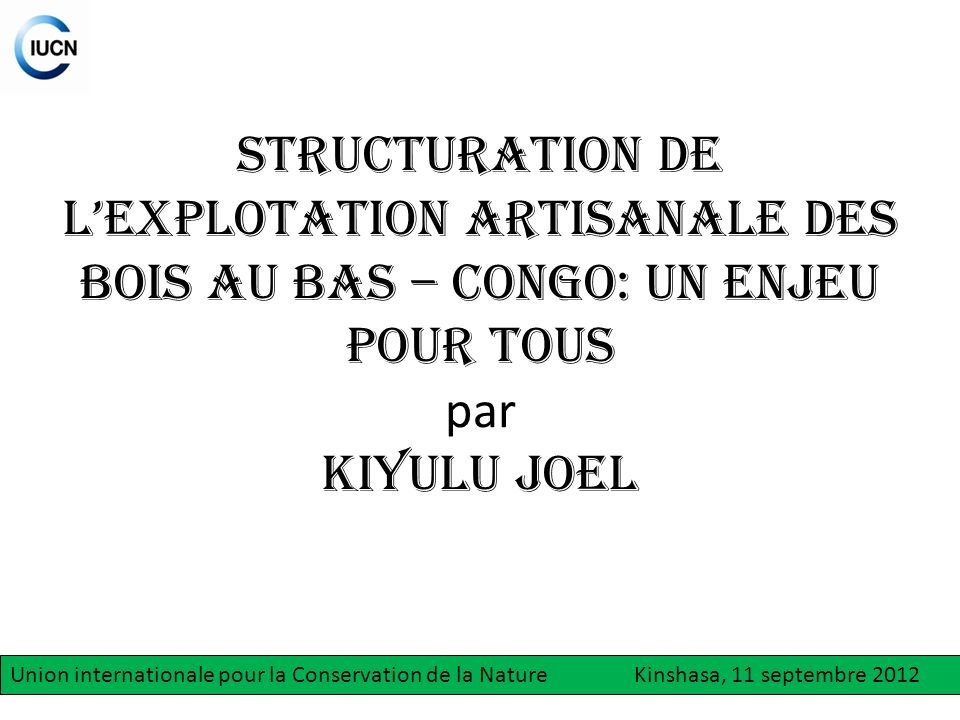 STRUCTURATION DE L'EXPLOTATION ARTISANALE DES BOIS AU BAS – CONGO: un enjeu pour tous par KIYULU JOEL