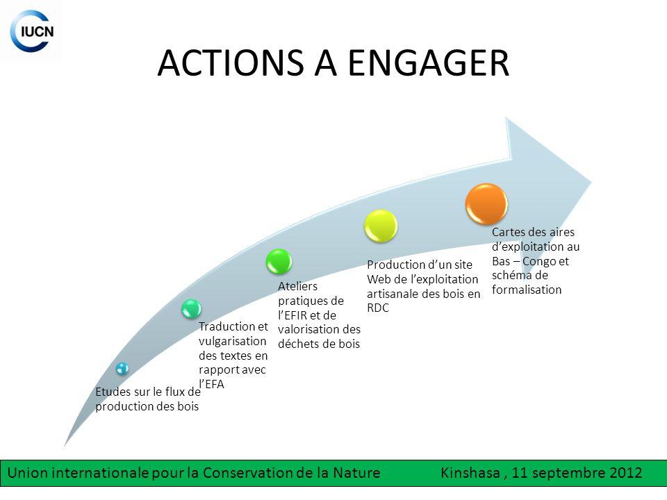 ACTIONS A ENGAGER Etudes sur le flux de production des bois. Ateliers pratiques de l'EFIR et de valorisation des déchets de bois.