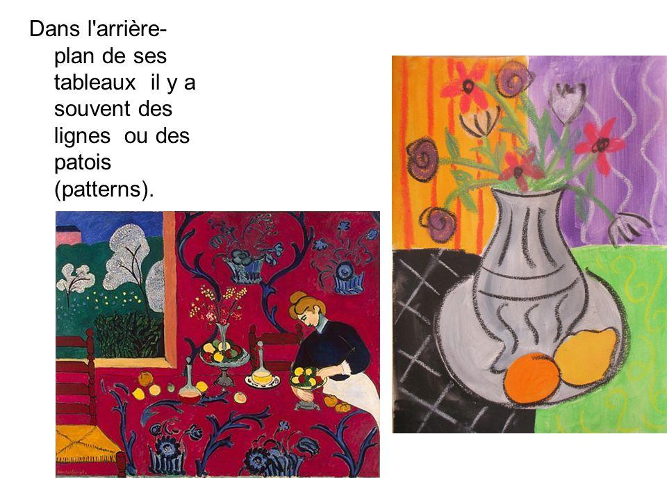 Dans l arrière-plan de ses tableaux il y a souvent des lignes ou des patois (patterns).