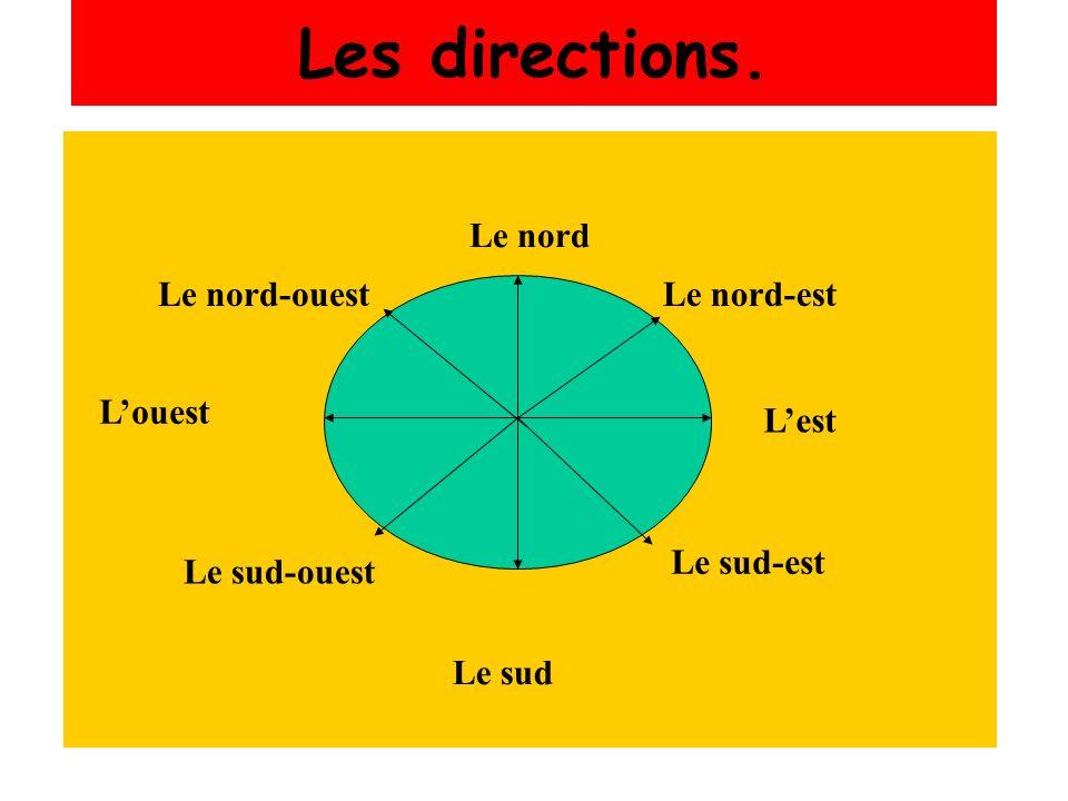 Les directions. Le nord Le nord-ouest Le nord-est L'ouest L'est
