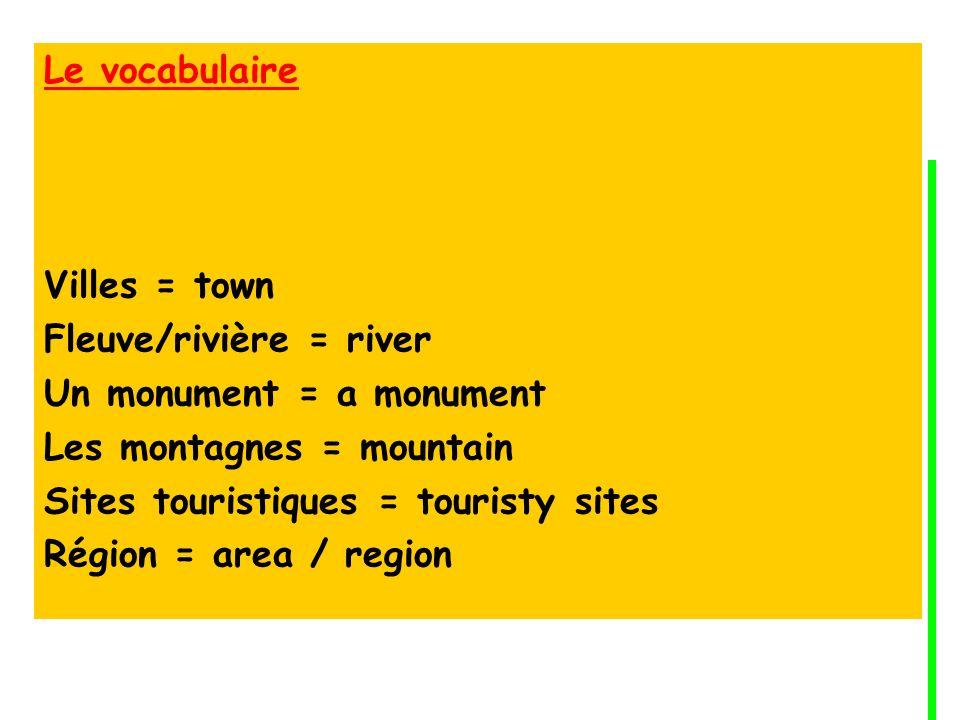 Le vocabulaire Villes = town. Fleuve/rivière = river. Un monument = a monument. Les montagnes = mountain.