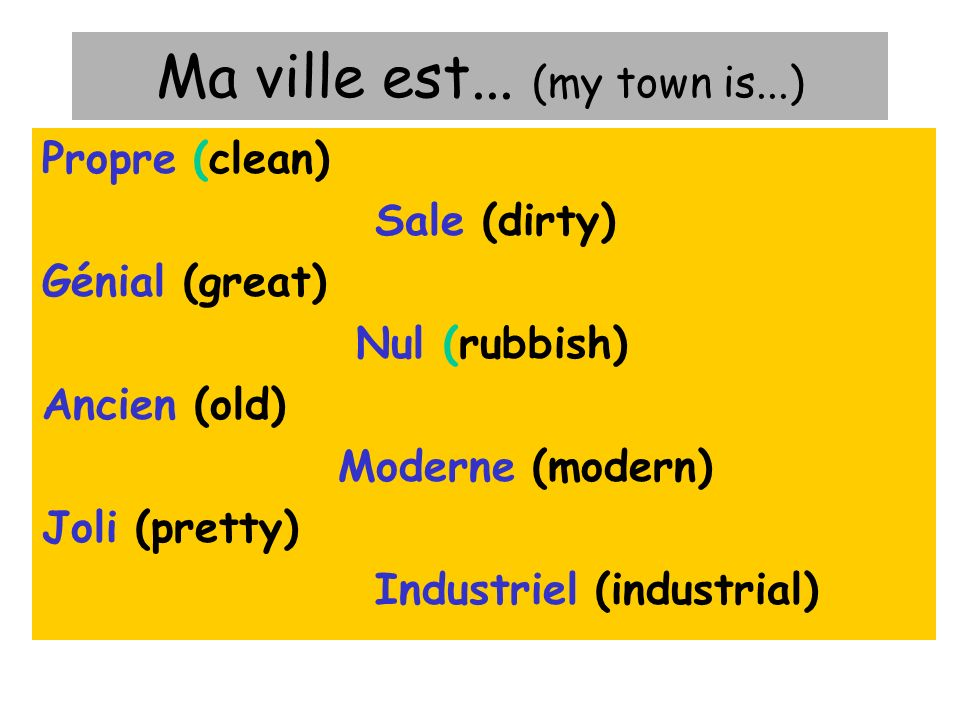 Ma ville est... (my town is...)
