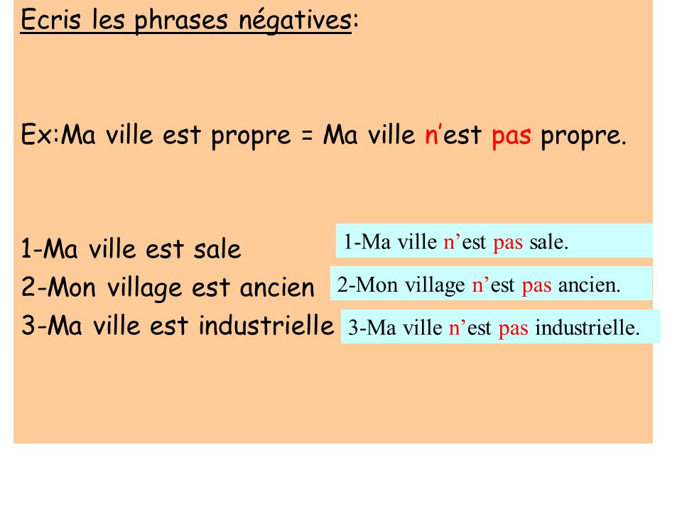 Ecris les phrases négatives: