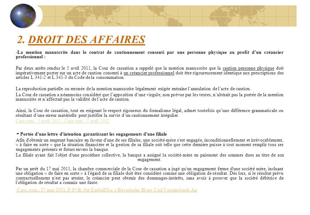 2. DROIT DES AFFAIRES