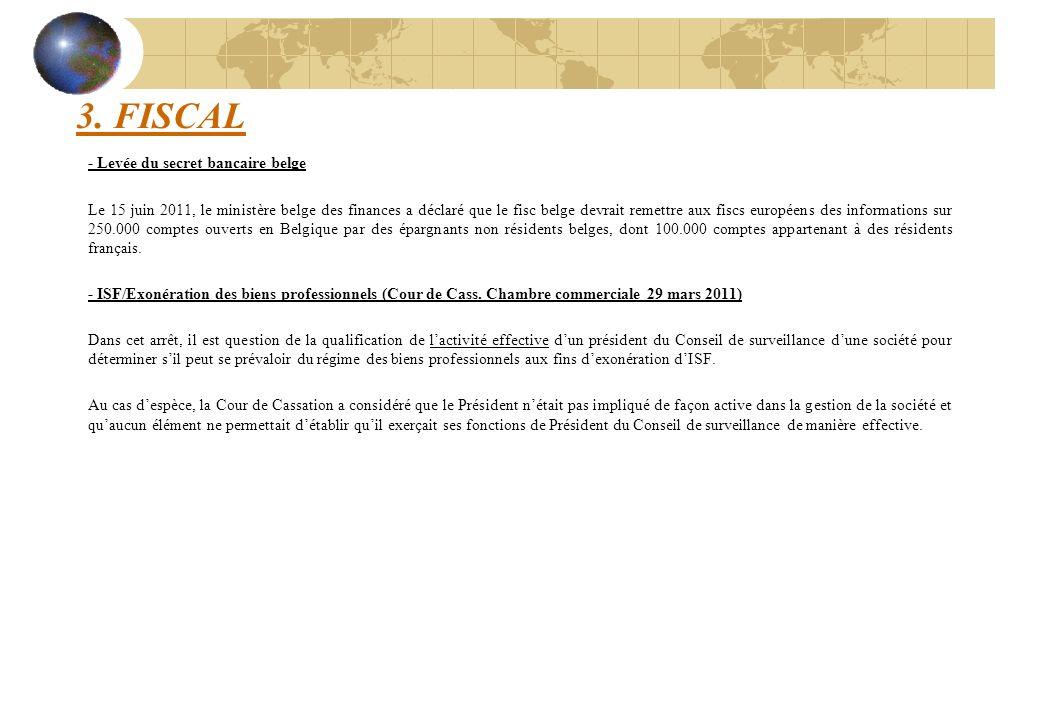 3. FISCAL - Levée du secret bancaire belge