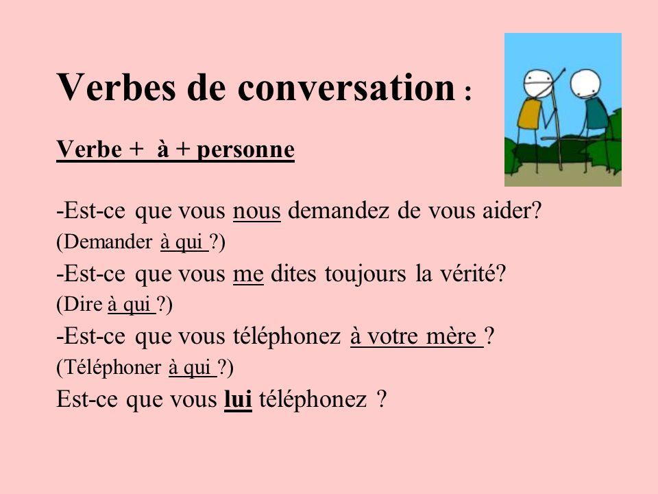 Verbes de conversation :