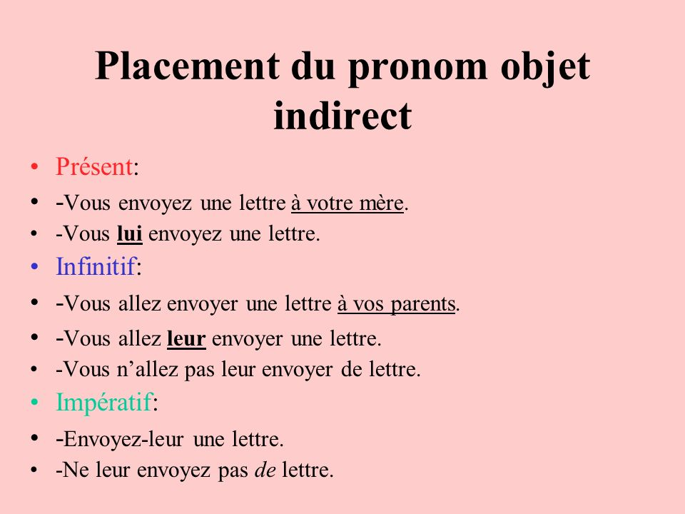 Placement du pronom objet indirect
