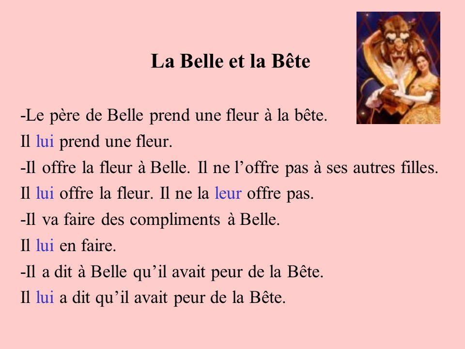 La Belle et la Bête -Le père de Belle prend une fleur à la bête.
