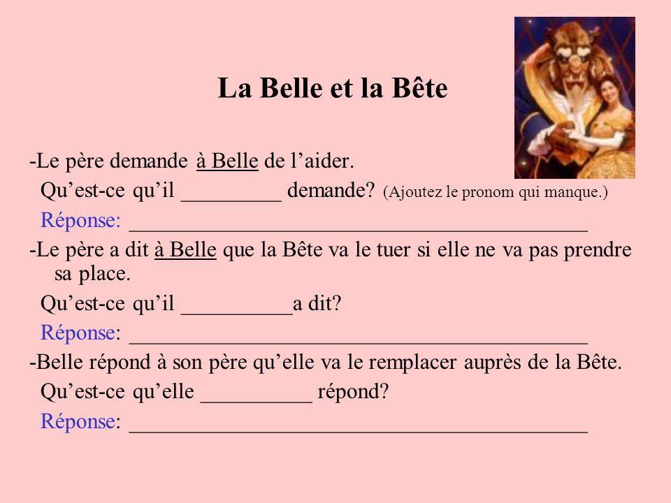 La Belle et la Bête -Le père demande à Belle de l'aider.