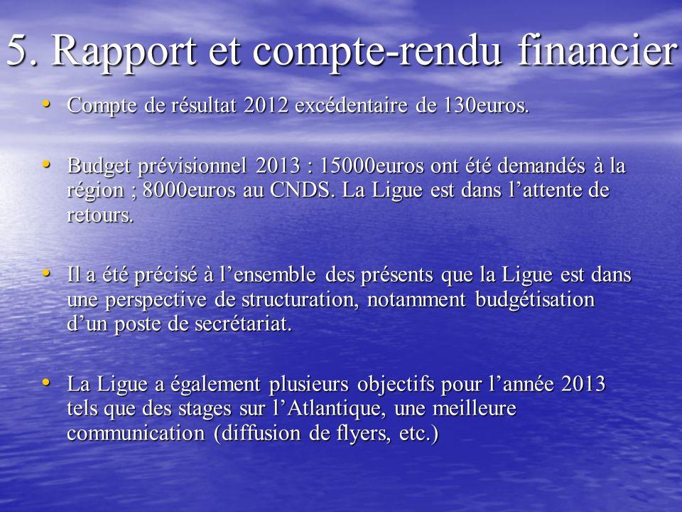 5. Rapport et compte-rendu financier
