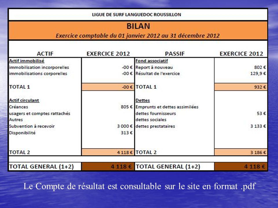 Le Compte de résultat est consultable sur le site en format .pdf