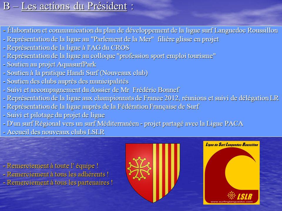B – Les actions du Président :