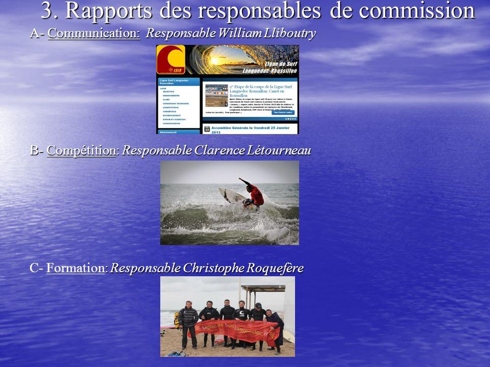 3. Rapports des responsables de commission