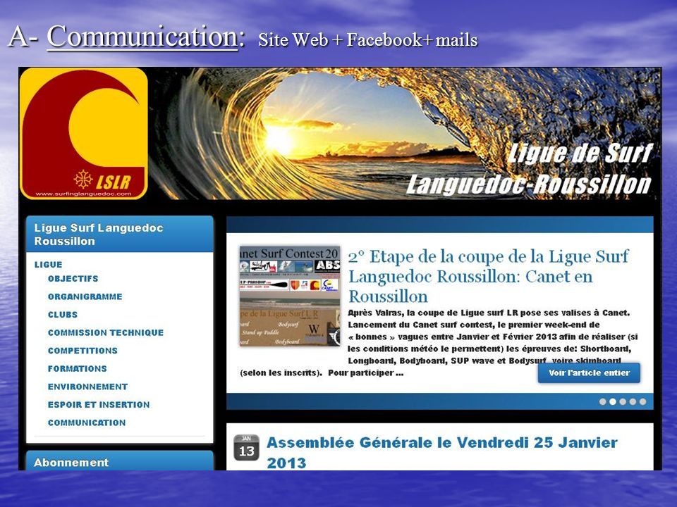 A- Communication: Site Web + Facebook+ mails