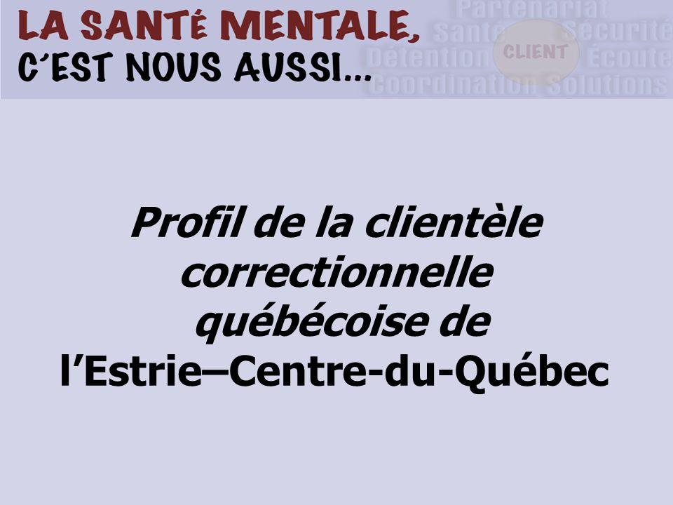 Profil de la clientèle correctionnelle québécoise de l'Estrie–Centre-du-Québec