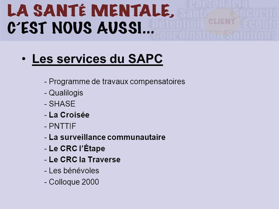 Les services du SAPC - Programme de travaux compensatoires