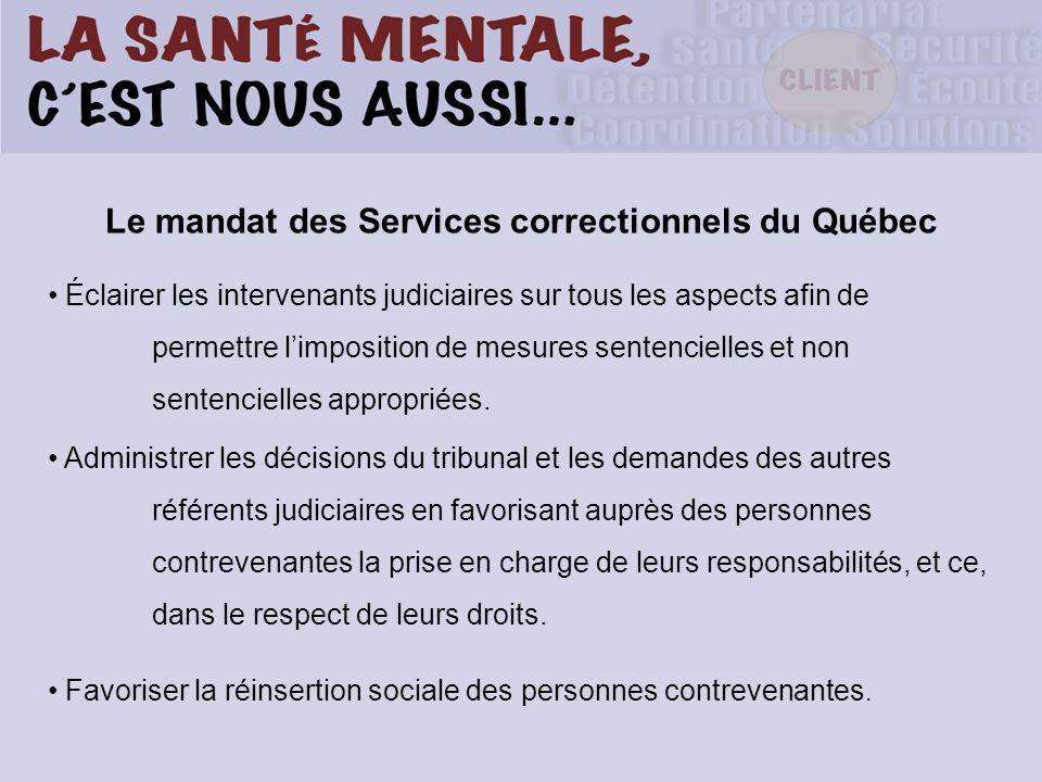 Le mandat des Services correctionnels du Québec