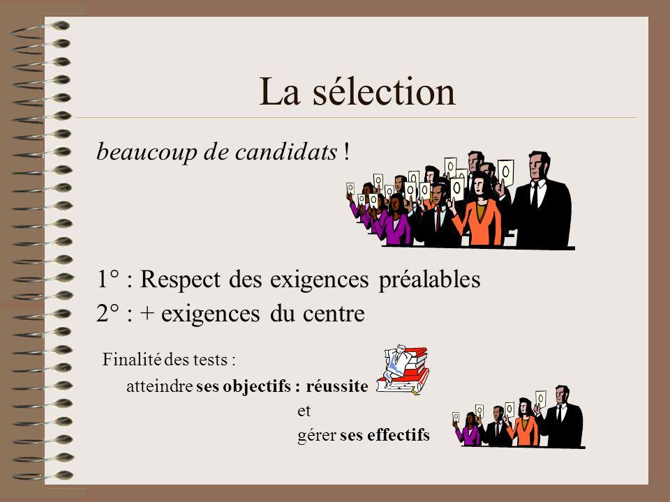 La sélection beaucoup de candidats !