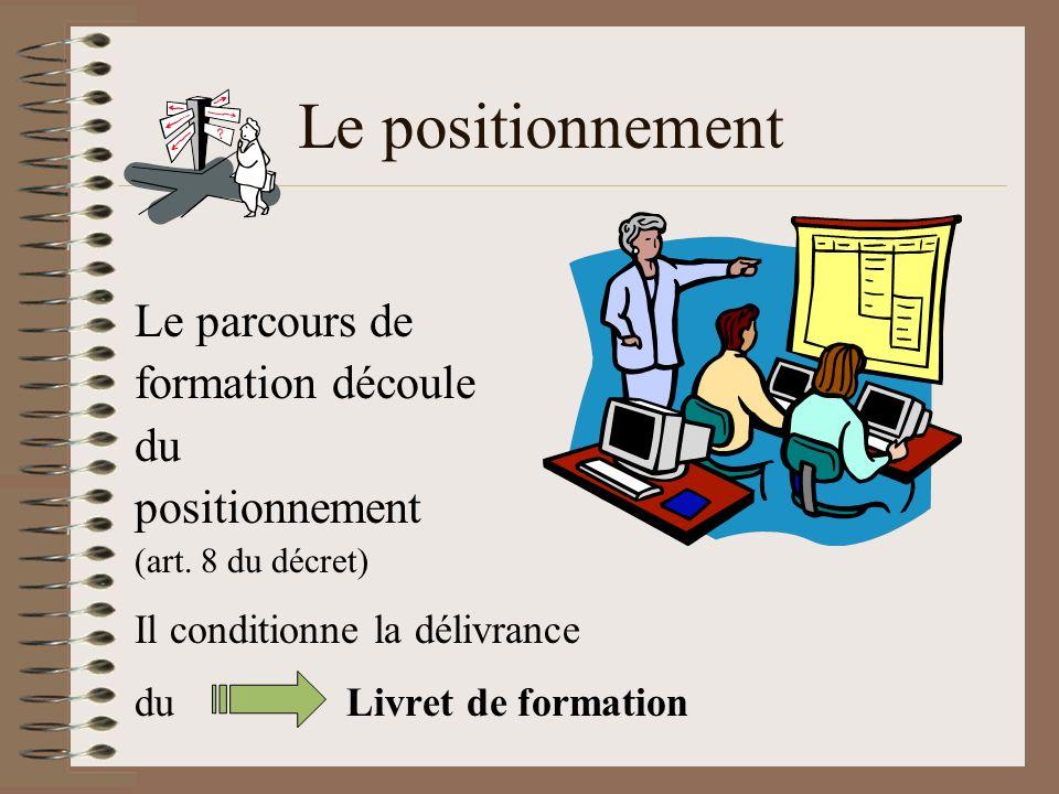 Le positionnement Le parcours de formation découle du positionnement