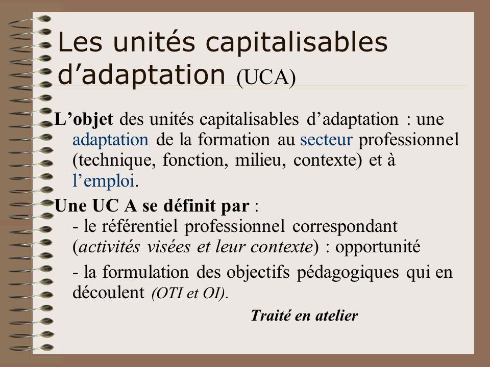 Les unités capitalisables d'adaptation (UCA)