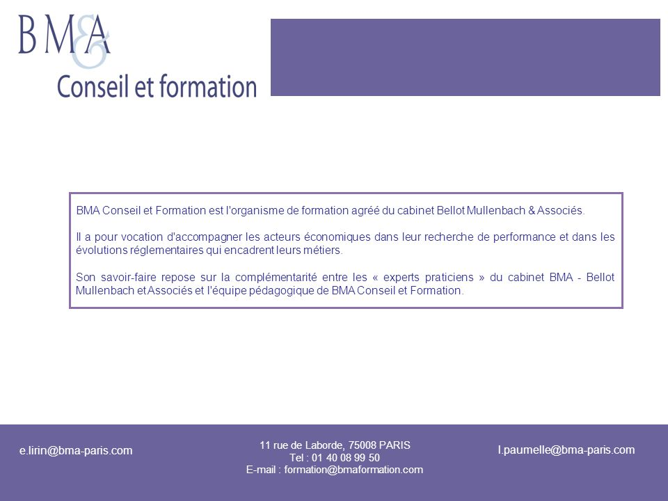 E-mail : formation@bmaformation.com
