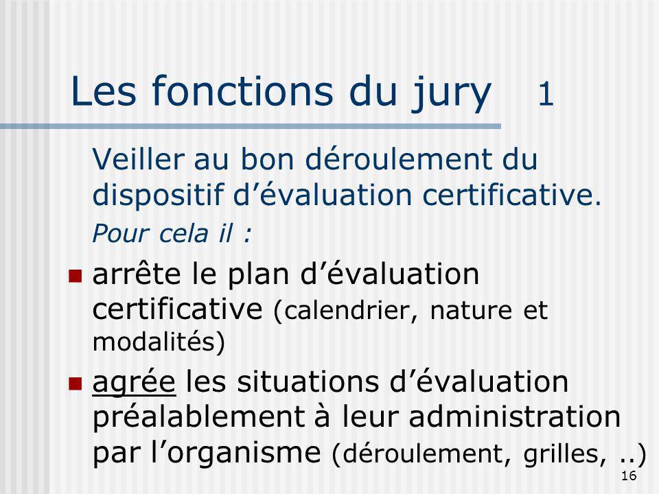 Les fonctions du jury 1Veiller au bon déroulement du dispositif d'évaluation certificative. Pour cela il :