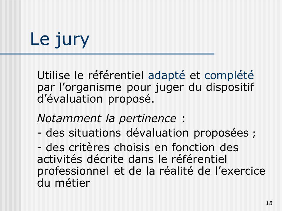 Le juryUtilise le référentiel adapté et complété par l'organisme pour juger du dispositif d'évaluation proposé.