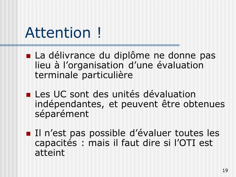 Attention !La délivrance du diplôme ne donne pas lieu à l'organisation d'une évaluation terminale particulière.